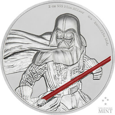 2 Oz Silber Proof Ultra High Relief Star Wars Darth Vader 2017 Niue Silver