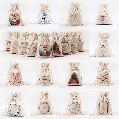 Christmas Linen Sack Drawstring Jewelry Bag Candy Canvas Pouch Gift Bag Holder