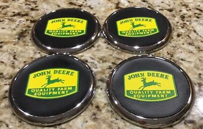 John Deere Coaster Set of 4, Vinyl, Metal, And Rubber With Cork Back