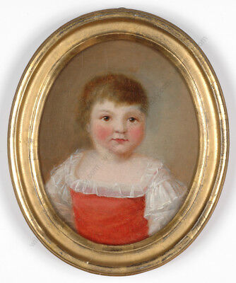 """Little girl"", small oil on canvas painting by a Swiss artist, late 18th century"
