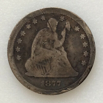1877-CC Seated Liberty Quarter Silver U.S. Coin A5271