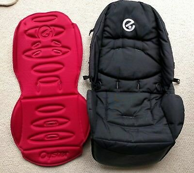 Babystyle Oyster Stroller Black Pad/Seat Cover & Red Liner. No Harness.FREE POST