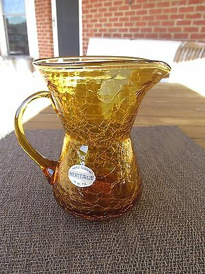 Vintage Heritage Amber Crackled Glass Mini Pitcher  Hand Blown