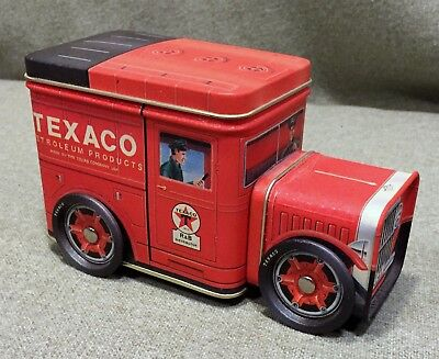 New!  R & B Collectibles Texaco Tin Truck Bank with moving wheels & Two Storages