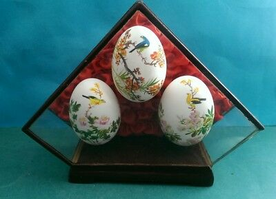 Beautiful Vintage Chinese Hand-Painted Eggs In Glass Display Case