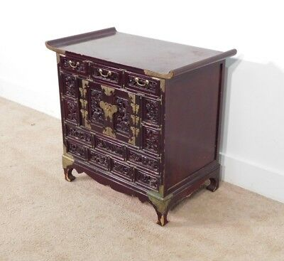 ANTIQUE Vintage Japanese or Korean Pagoda Rosewood or Mahogany Chest