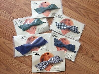 Vintage 1950s Lot of 6 Never used Sweet Fabric Bow Hair Clips by Gayla