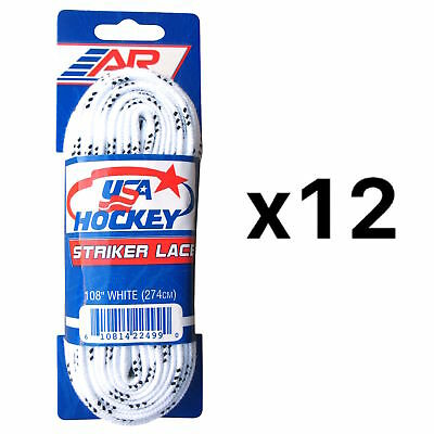 A&R Sports USA Hockey Laces - Non-Waxed Striker Laces - White 108 Inch (12-Pack)