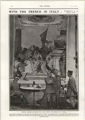 1918 French Officers Discussing War Plans Under Frescoes Tiepolo