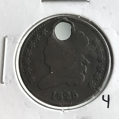 1825 1/2C Classic Head Half Cent: Holed #4