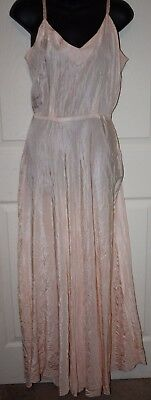 Vintage Full length Old Hollywood Glam Slip Nightgown Satin Blush Small 1940's