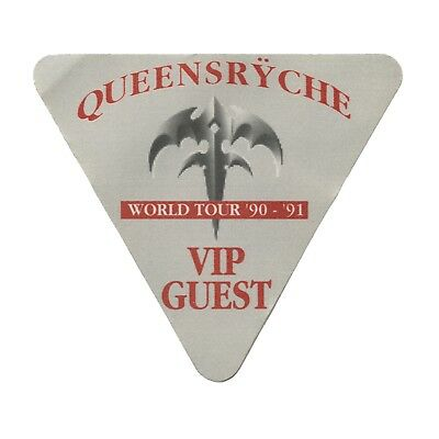 Queensryche authentic 1990 Building Empires Tour satin Backstage Pass VIP red
