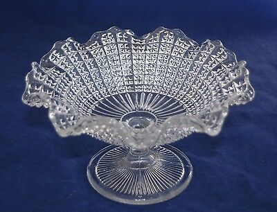 Elegant Flared & Ruffled Hobnail Cut Glass Footed Comport/Bowl/BonBon Dish