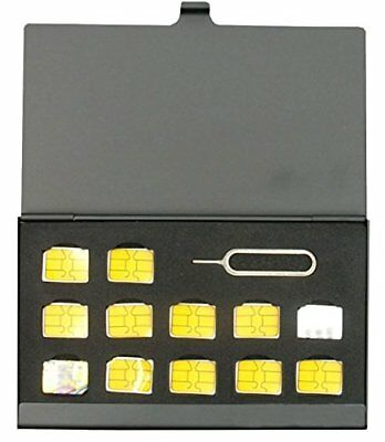 BlueCraft Slim Nano SIM (Max. 12 nano SIM cards) Card Aluminum Holder Case