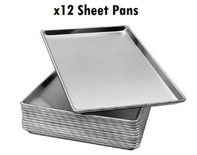 "NEW! 12 PACK - 18"" x 26"" Full Size 19 Gauge Wire in Rim Aluminum Bun Sheet Pan"