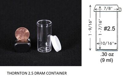 Thornton 3.5 dram clear plastic vial container small collector insect holder 20x
