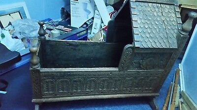 Antique Carved Oak Baby Rocking Cradle