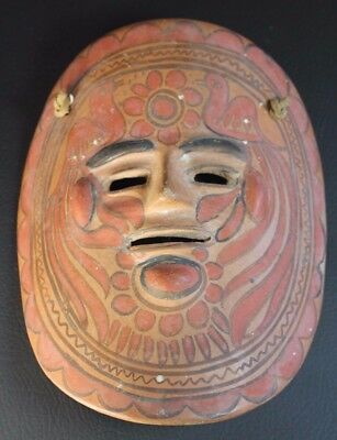 Mexican ART MASK - Mexico vintage clay ceramic wall hand painted folk