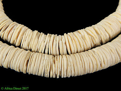 Clamshell Heishi Beads Thin White Disks African