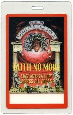 Faith No More authentic 1995 concert Laminated Backstage Pass Monsters of Rock