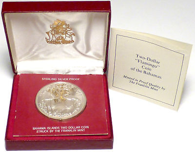 1973 Bahamas Sterling Silver Proof $2 w/ Original Packaging by the Franklin Mint