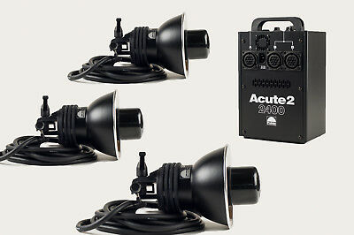 Profoto Acute2 2400 Light Kit With 3 (THREE) Heads & Custom Tenba Case - *MINT*