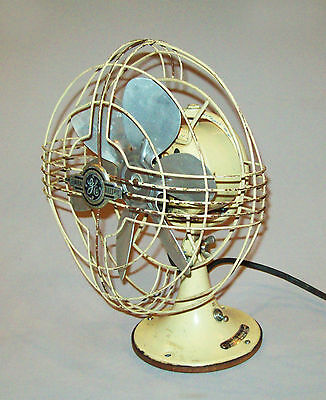 """Old antique vtg 1930s Small 8"""" General Electric Fan GE Oscillating Works Great"""