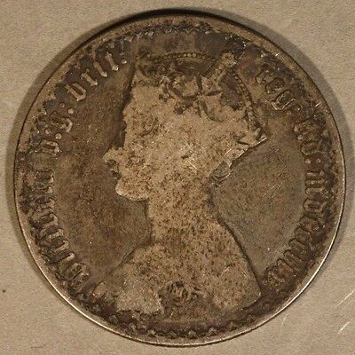 1859 Great Britain Florin Silver Gothic Circulated      ** FREE U.S. SHIPPING **