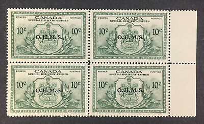 Canada Eo1 - Special Delivery - Ohms Overprinted In Black Mint Block Vf Nh