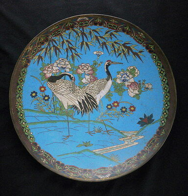 Large Antique Chinese or Japanese Cloisonne Plate