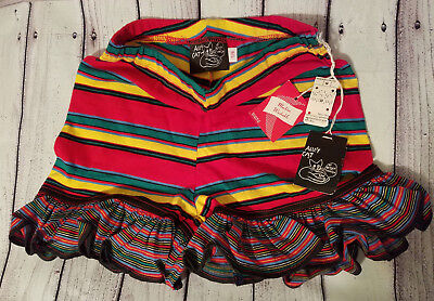 Sz 7/8 NOS Deadstock Betsey Johnson Alley Cat Vtg 70s Striped Multi-Color Shorts