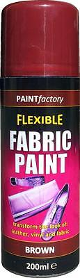 x8 Brown Fabric Spray Paint Leather Vinyl & Much More, Flexible 200ml 5 Colours