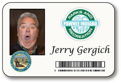 Jerry Gergich Parks & Recreation Name Badge Halloween Prop Pin Back