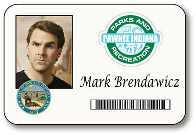 Mark Brendawicz Parks & Recreation Name Badge Halloween Prop Pin Back