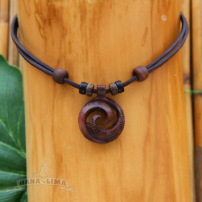 Necklace Leather Surfer Carving Mens Women
