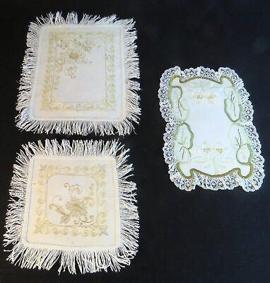 Antique Doilies Embroidered Table Boudoir Mats Cotton Fringe Gold Thread