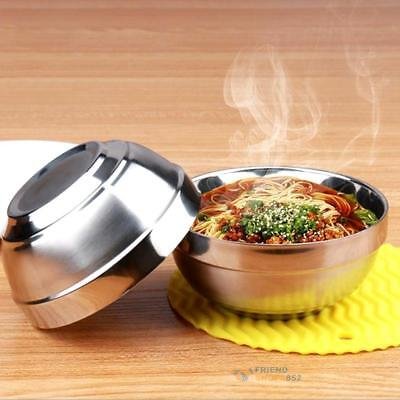Stainless Steel Meal Soup Rice Bowl Double Layer Baby Anti-Hot Insulation Bowls
