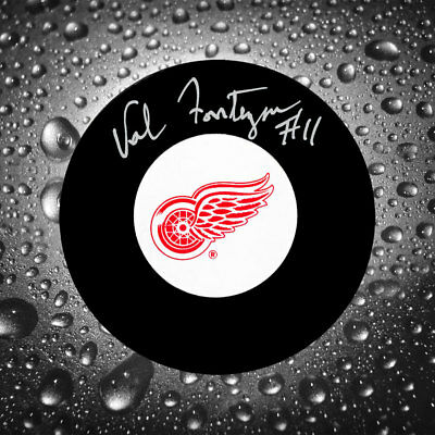 Val Fonteyne Detroit Red Wings Autographed Puck