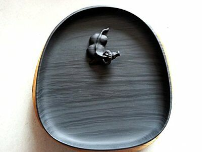 """Exquisite Ink Well of Ink Stone with Wooden Box 15x14x3.5cm (6x5.5x1.4"""") - Ox"""