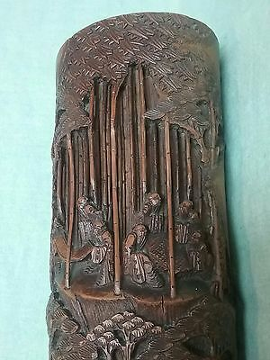 "Chinese Bamboo carved Brush pot vase 1890 -1920 13"" height given to owner 1920"