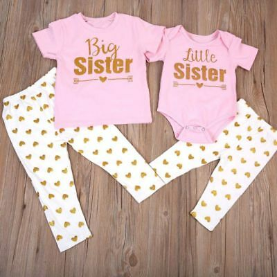 Sister Matching Newborn Baby Girls Romper T-shirt Tops +Pants Outfit Clothes Set