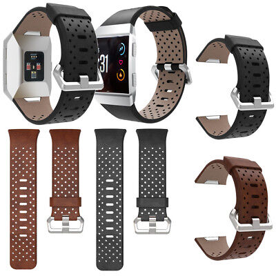 For Fitbit Ionic Perforated Leather Accessory Band Bracelet Watchband Strap 25mm