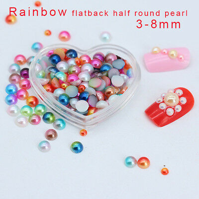 Hot 1.5//2.0//3.0mm Half Round Pearl Bead Flat Back Scrapbook for Craft 21colors
