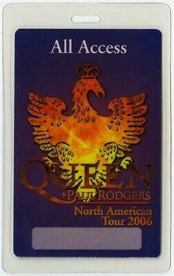 Queen authentic 2006 concert tour Laminated Backstage Pass Paul Rodgers AA