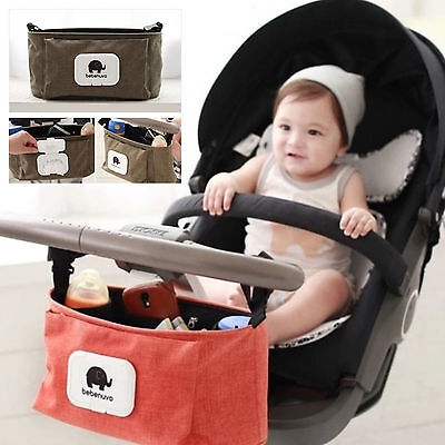 Pram Pushchair Baby Stroller Storage Buggy Bottle Holder Organiser Mummy Bag New