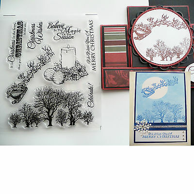 Clear Acrylic Transparent Stamp Christmas Trees Santa Card Making Scrapbooking