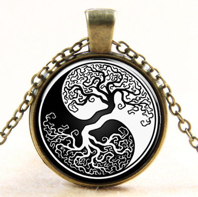 Cheap Ying Yang Tree Of Life Cabochon Glass Tibet Locket Pendant Necklace NEW