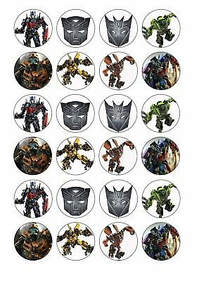 24 x TRANSFORMERS Cupcake Toppers EDIBLE CAKE Wafer Rice Paper BUMBLEBEE AUTOBOT