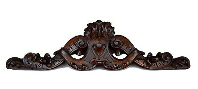 French Antique 19th.c Hand Carved Walnut Wood Pediment Cornice - Above Door
