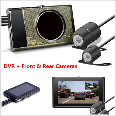 1080P Full HD Motorcycle Dual Lens DVR Video Recorder w/ Dual Front+Rear Cameras